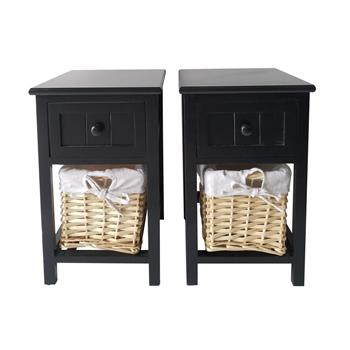 2pcs Country Style Two-tier Night Tables with Drawer and Basket Black