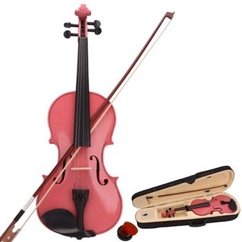 New 4/4 Acoustic Violin Case Bow Rosin Pink