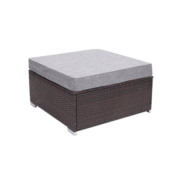 Patio PE Wicker Rattan Coffee Table with tempered glass