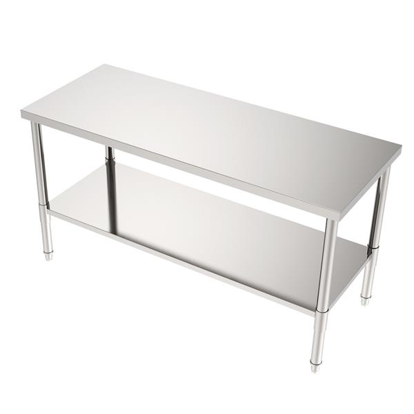 """60"""" Stainless Steel Galvanized Work Table (without Back Board)"""
