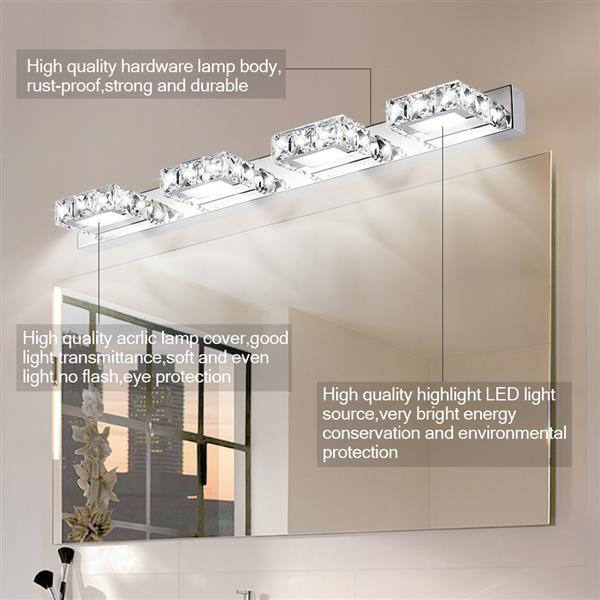 [US-W]12W ZC001211 Four Lights Crystal Surface Bathroom Bedroom Lamp Warm White Light Silver