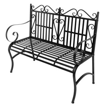 2-Seater Foldable Outdoor Patio Garden Bench Porch Chair Seat with Steel Frame Solid Construction
