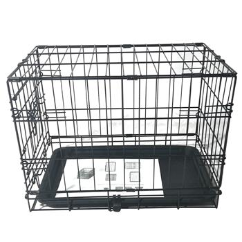 "20"" Pet Kennel Cat Rabbit Folding Steel Crate Animal Playpen Wire Metal Cage Black"