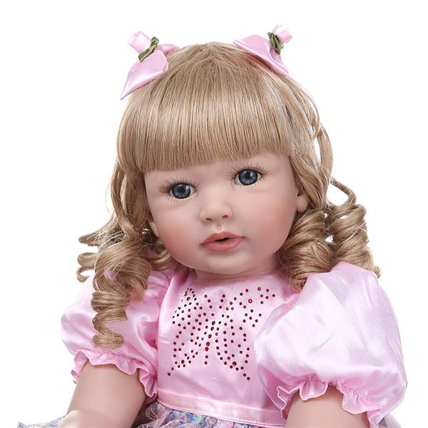 "24"" Beautiful Simulation Baby Golden Curly Girl Wearing Colorful Print Skirt Doll"