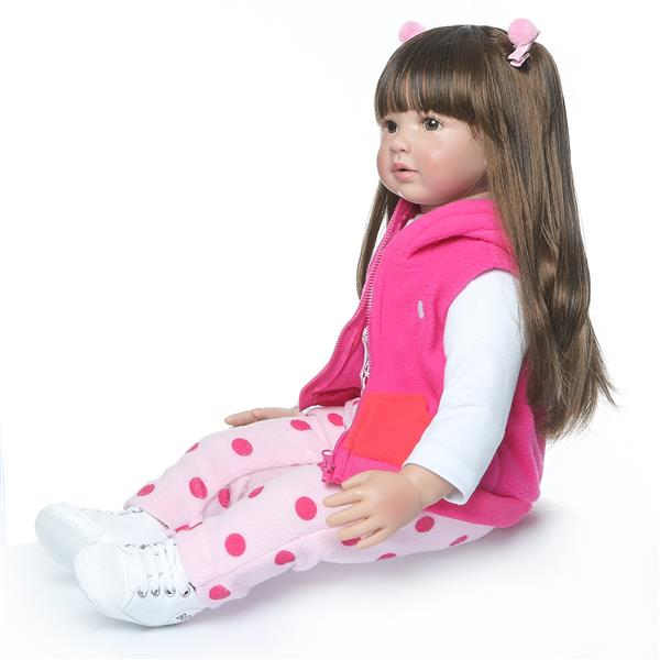 "24"" Beautiful Simulation Baby Long Hair Girl Wearing a Deer Dress Doll"