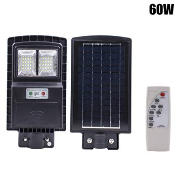 60W 80LED Outdoor Waterproof Light Solar Sensor Light with Light Control and Radar Sensor Black