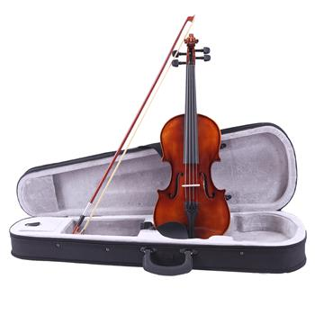 Glarry 4/4 Classic Solid Wood Violin Case Bow Violin Strings Rosin Shoulder Rest Electronic Tuner