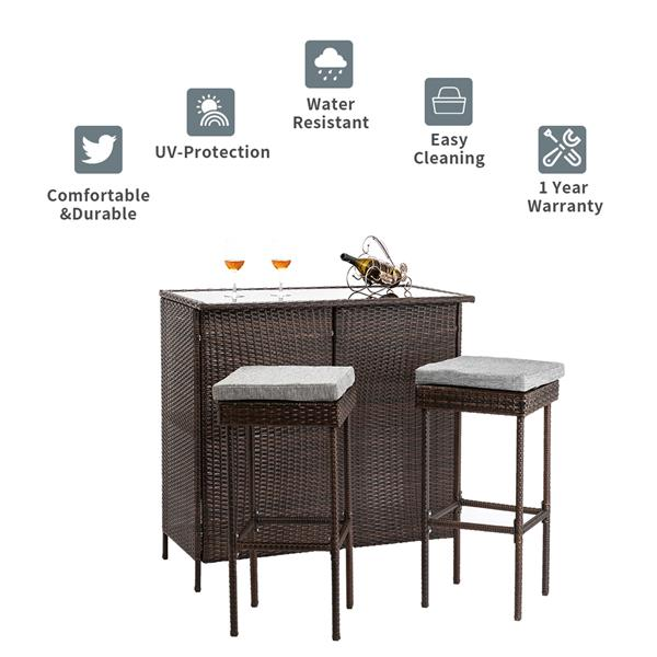 Outdoor 3-Piece Brown Wicker Bar Set Glass Bar and Two Stools with Cushions