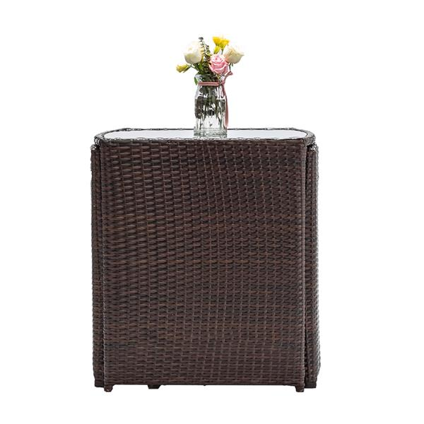 3PCS Rattan Wicker Bistro Set with Glass Top Table 2 Chairs Space Saving Design Brown
