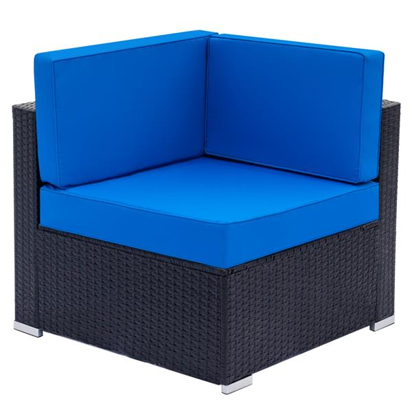 Fully Equipped Weaving Rattan Right Sofa — Black