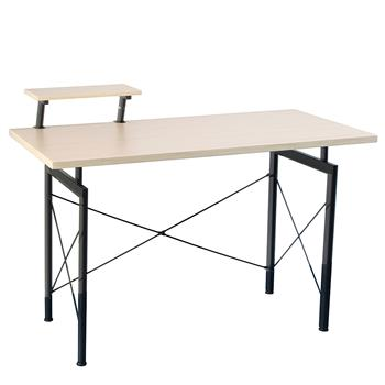 Concise Wooden Computer Desk with Top Shelf Home Office Furniture Beech Wood Color