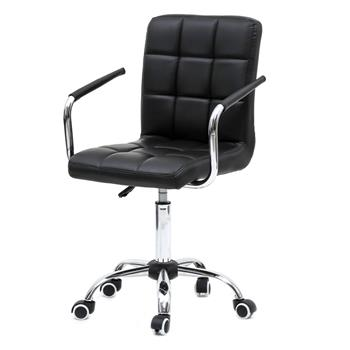 360 Degree Rotation Middle Back Office Chair Black