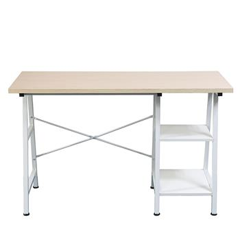 Concise Wooden Computer Desk with Shelf Home Office Furniture White
