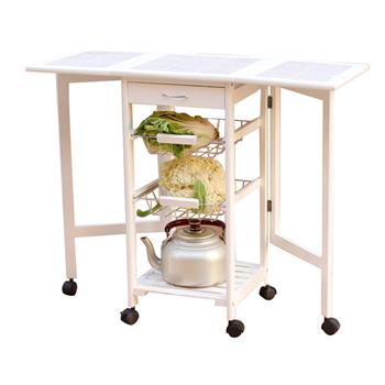 Portable Folding Kitchen Rolling Tile Top Drop Leaf Storage Trolley Cart White
