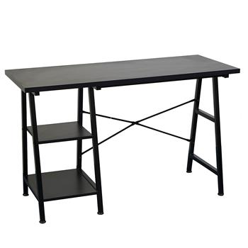 Concise Wooden Computer Desk with Shelf Home Office Furniture Black