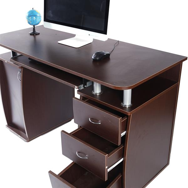 15mm MDF Portable 1pc Door with 3pcs Drawers Computer Desk Coffee