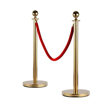 6pcs 32*95CM Concierge Columns Pillars 3 1.5M velvet ropes Gold