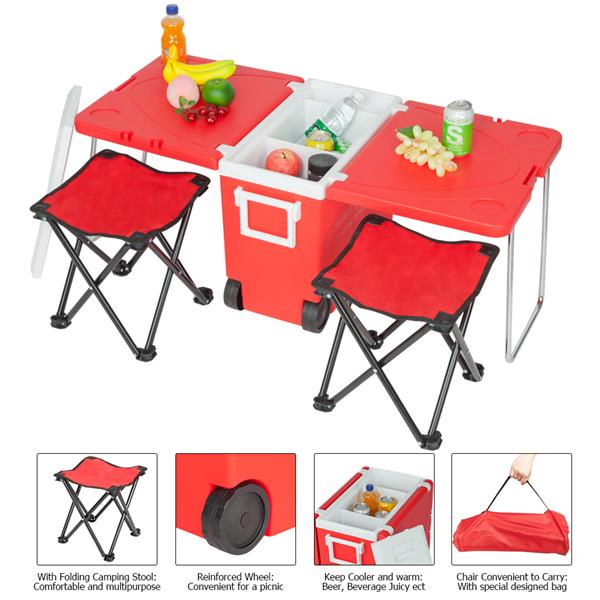 Outdoor Foldable Multi-Function Rolling Cooler & Stool Set H