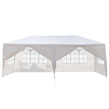[US-W]3 x 6m Six Sides Two Doors Waterproof Tent with Spiral Tubes White