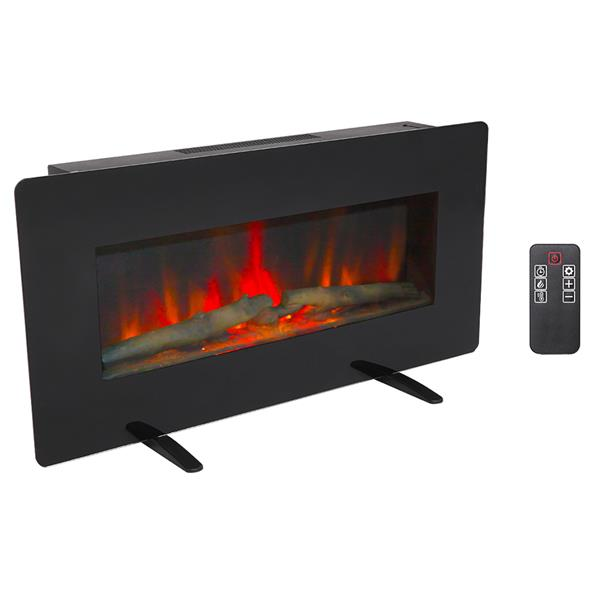ZOKOP SF311-36G 36 Inch 1400W Wall Hanging / Fireplace Single Color / Fake Wood / Heating Wire / With Small Remote Control Black