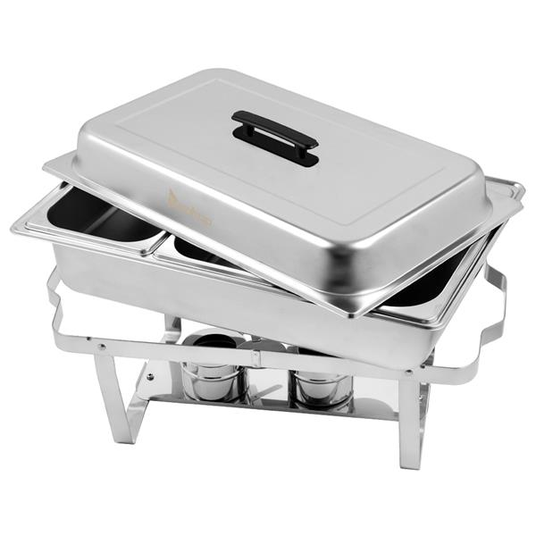 ZOKOP 9L*1 Three Sets of Dishes 1*1/3 Stainless Steel Rectangular Buffet Stove