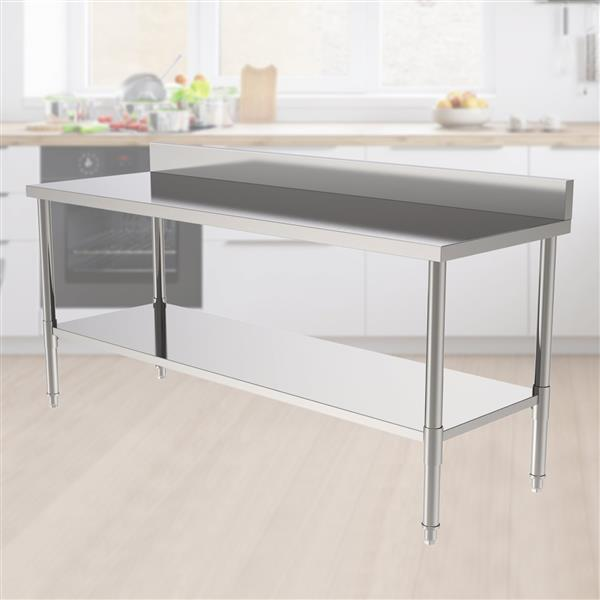 """72"""" Stainless Steel Galvanized Work Table (with Back Board)"""