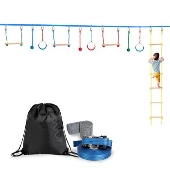 [US-W]Slackline Bar Kit Outdoor Tree Hanging Obstacles Line Accessories Play Set Blue