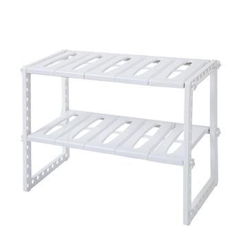 [US-W]Classic Korean-style Stainless Steel Multi-functional Kitchen Sink Rack White