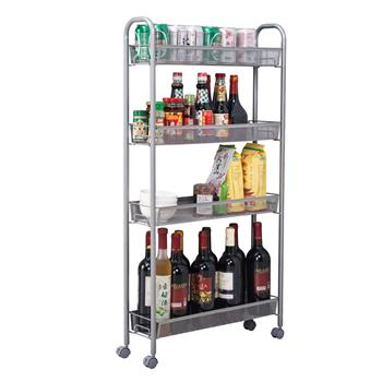 [US-W]Honeycomb Mesh Style Four Layers Removable Storage Cart Silver