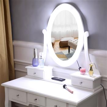 [US-W]FCH With Light Bulb Single Mirror 5 Drawer Dressing Table White