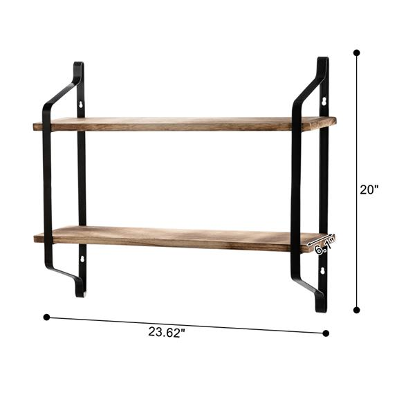 2 Tiers Floating Shelves Wall Mounted Industrial Wall Shelves for Living Room Bedroom Kitchen Entryway Wood Storage Shelf