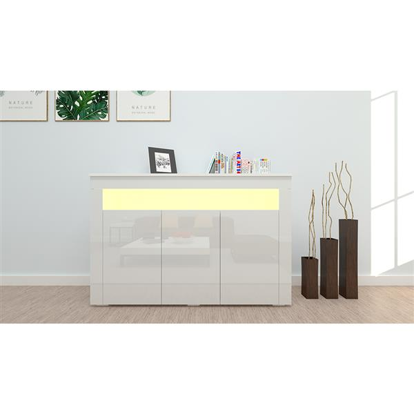 Color-Changing LED Lamp Three-Three-Door Side Cabinet Porch Cabinet A Box White (A B Box Is a Set Of Delivery, Indispensable)