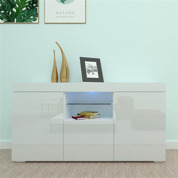 LED Light Three-Door Side Cabinet Porch Cabinet White