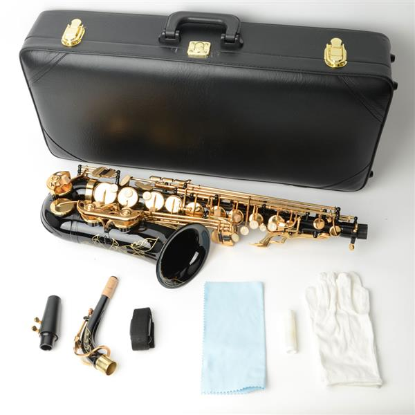 [US-W]Be Brass Carving Pattern Pearl White Shell Button Saxophone with Strap Black
