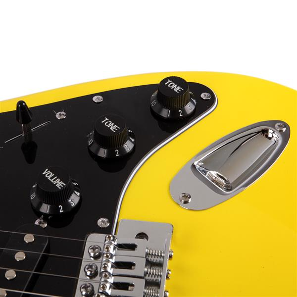 ST Stylish Electric Guitar with Black Pickguard Yellow