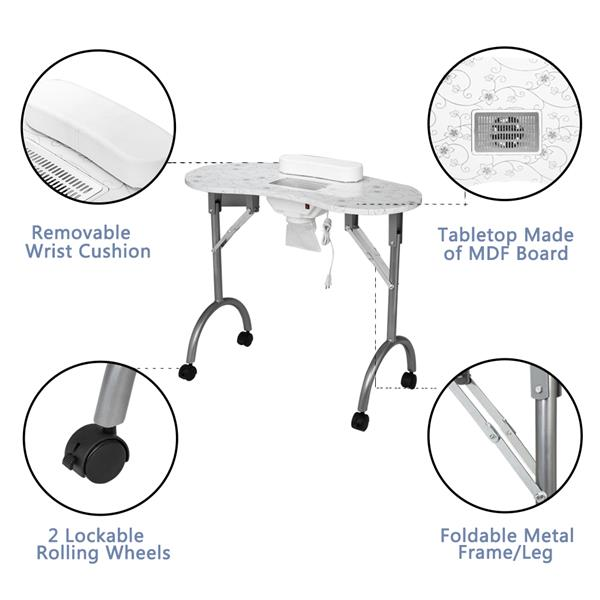 [US-W]Portable MDF Manicure Table Spa Beauty Salon Equipment Desk with Dust Collector & Cushion & Fan White