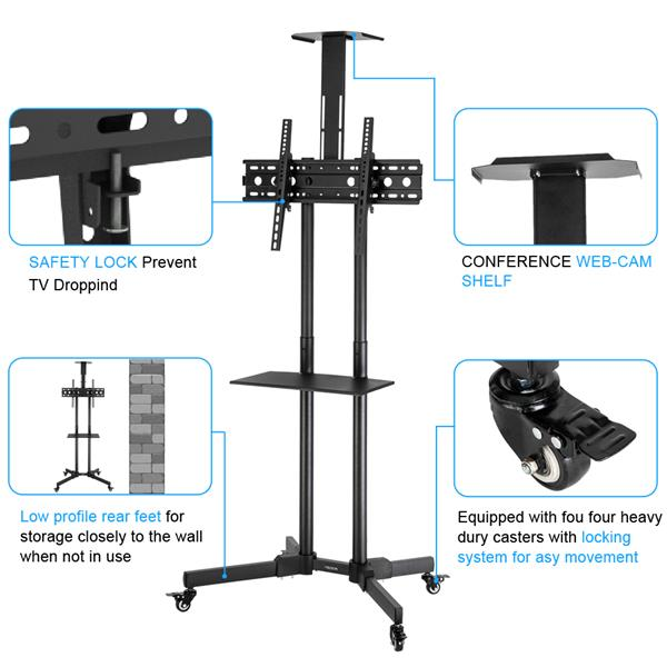 """Leadzm TSY 1600 32-70"""" TV Mobile Cart Weight Bearing 60kg Maximum VESA 400*600 Up and Down Adjustable 15° with Pulley Tray Camera Bracket"""