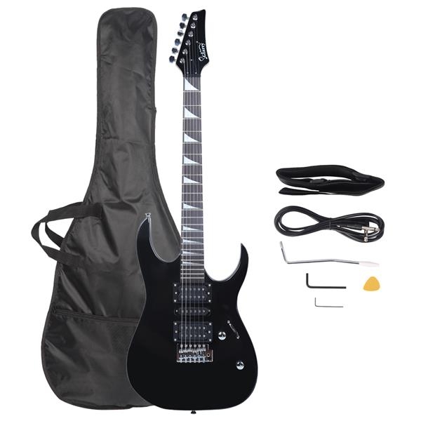 Glarry 170 Electric Guitar Novice Guitar   Bag   Strap   Paddle   Rocker   Cable   Wrench Tool Black