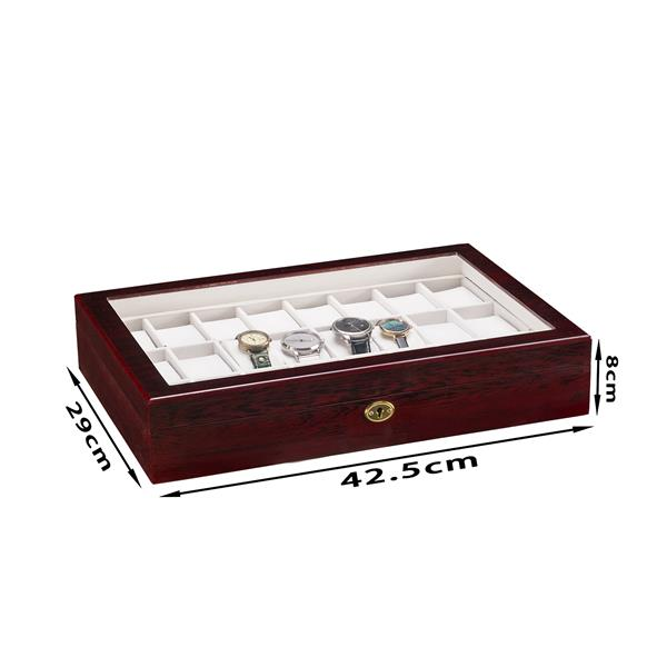 24 Slots Wooden Case  Watch Display Case Glass Top Jewelry Storage Organizer Gifts