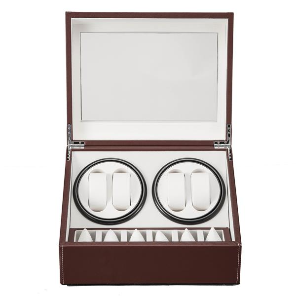 Brown Leather Watch Winder Storage Auto Display Case Box 4 6 Automatic Rotation