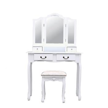 Tri-fold Mirror 4-Drawer Dresser Dressing Table with Dressing Stool White