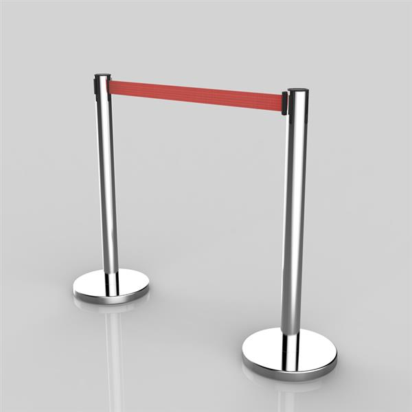 4pcs 32*90CM Red Rope Telescopic Railings Chassis Silver