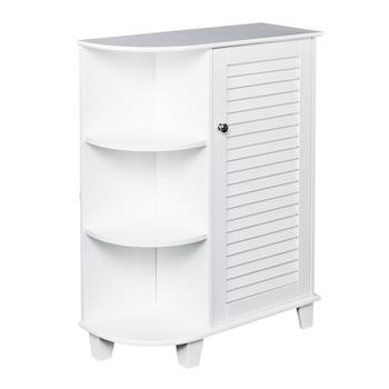 3-tier Floor Storage Cabinet with Side Shelves ZT048 White