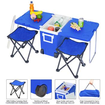 Outdoor Picnic Foldable Multi-function Rolling Cooler Upgraded Stool Blue