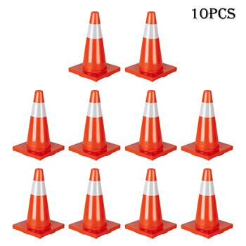 "Oshion 10Pcs Traffic Cones 18"" Orange Slim Fluorescent Reflective Road Safety Parking Cones"