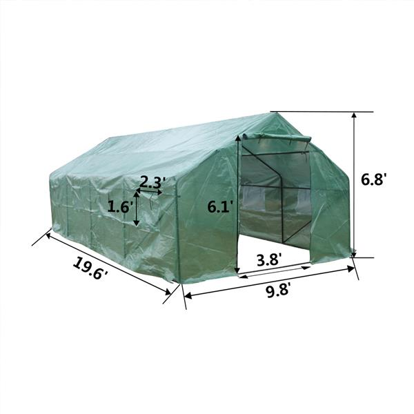 20′x10′x7′-A Heavy Duty Greenhouse Plant Gardening Spiked Greenhouse Tent