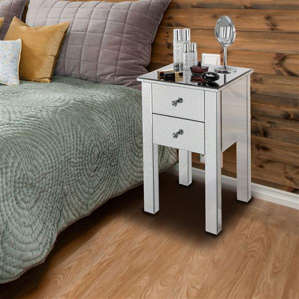 [US-W]Modern and Contemporary Mirrored 2-Drawers Nightstand Bedside Table Silver