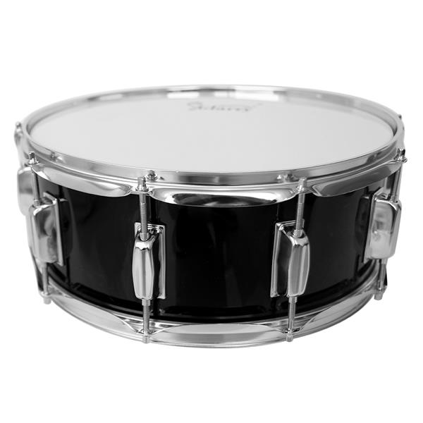 "[US-W]Glarry 14 x 5.5"" Snare Drum Poplar Wood Drum Percussion Set With Snare Stent Drum Stand Black"