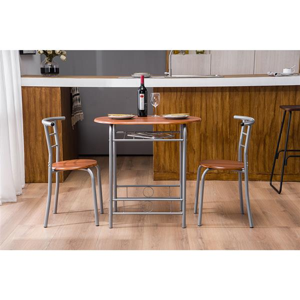 Brown Wood Grain PVC Breakfast Table (One Table and Two Chairs)