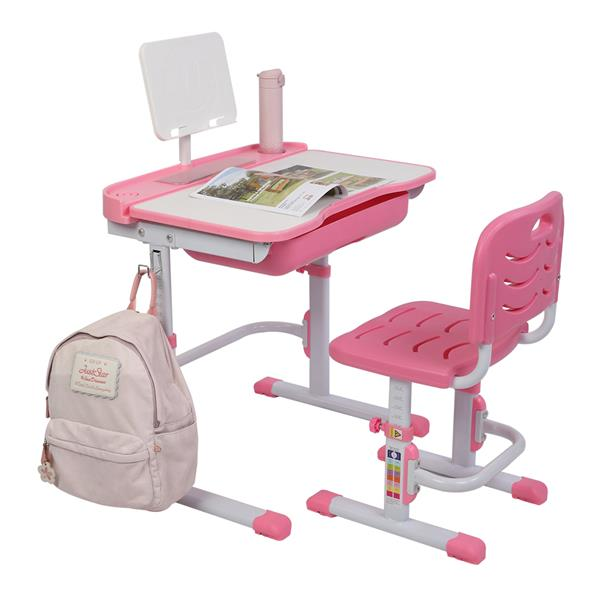 [US-W]70CM Lifting Table Can Tilt Children Learning Table And Chair Pink (With Reading Stand Without Table Lamp)